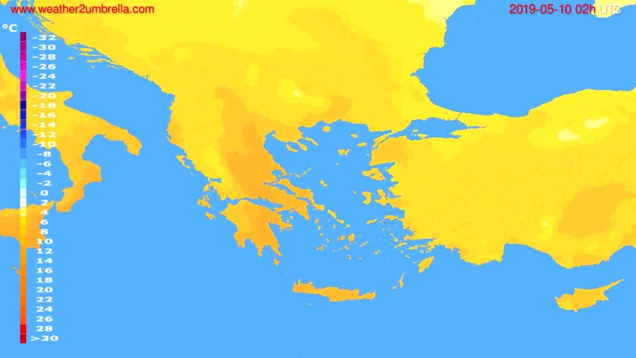 Temperature forecast Greece // modelrun: 12h UTC 2019-05-07