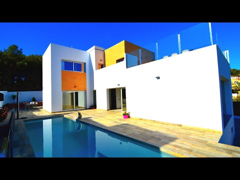 New villa with sea views in Spain 800m to the sea (Benissa - Calpe) in the style high-tech from the developer