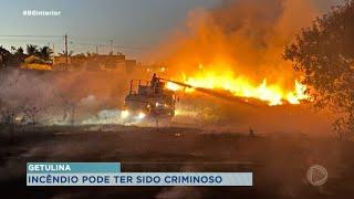 Incêndio devasta área de vegetação em Getulina