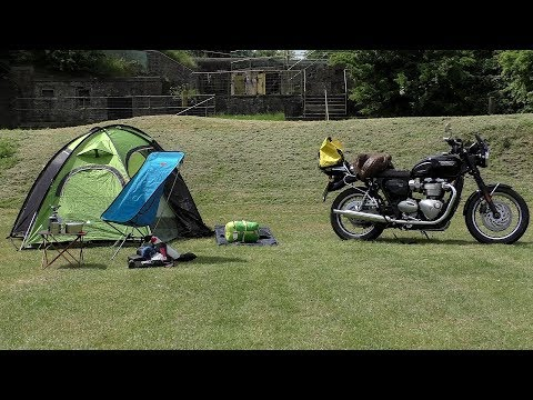 Triumph T120, ONE BAG CAMPING! Motorcycle camping gear!