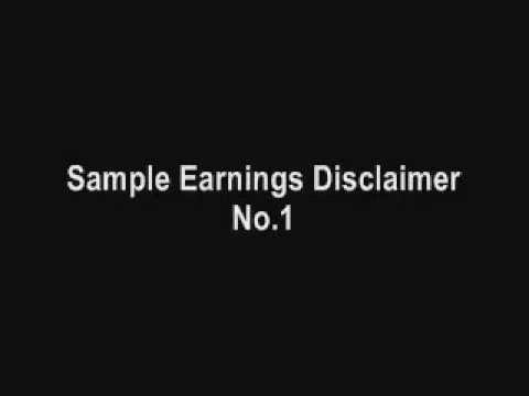 Sample Earnings Disclaimer No.1