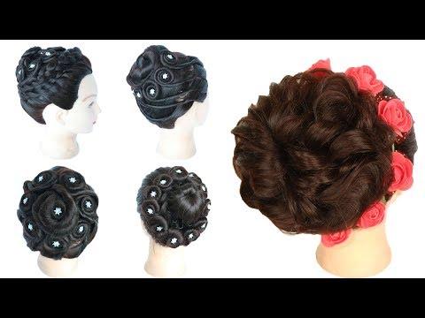 Short hair styles - 5 selected beautiful bridal bun hairstyles  wedding hairstyles  bridal hairstyle  juda hairstyle