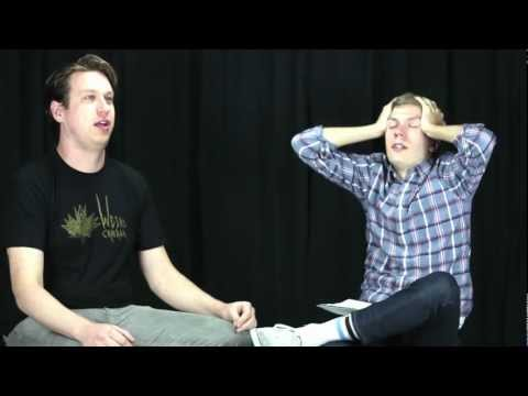 Pete Holmes does an interview after eating an extremely spicy pepper