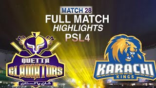 PSL 2019 Match 28: Karachi Kings vs Quetta Gladiators | | Full Match Highlights HD