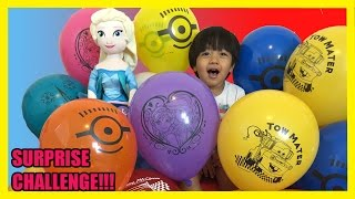 TOYS SURPRISES GIANT BALLOON DROP POP CHALLENGE with Ryan