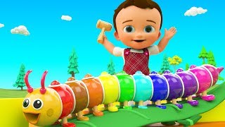 Colors for Children to Learning with Little Baby Fun Play Color Balls Wooden Caterpillar Slider Toy