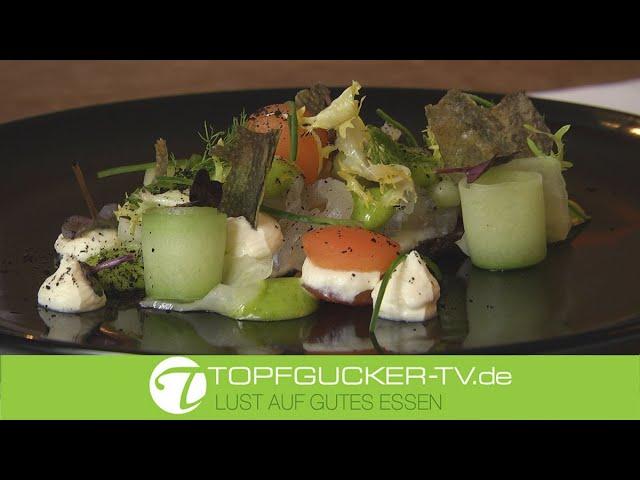 Gebeizter Kabeljau auf warmem Pumpernickel und grüner Mayonnaise