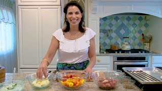 "Julie ""Taboulie"" Ann Sageer, author of Julie Taboulie's Lebanese Kitchen, whips up healthy kebabs perfect for summer at her ..."