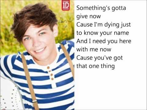 One Direction - One Thing Lyrics on screen