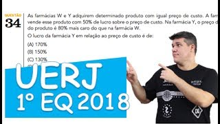 Neste vídeo, eu resolvo a questão 34 do 1º exame de qualificação da UERj 2018. As farmácias W e Y adquirem determinado ...