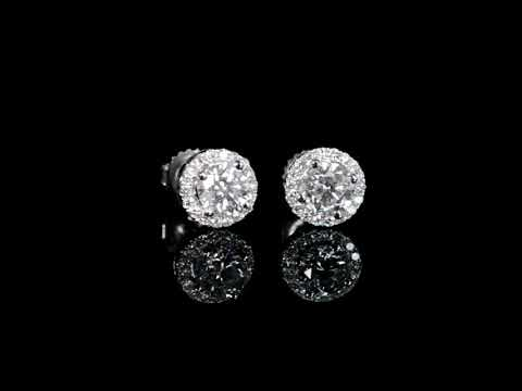 Lady's 18k White Gold 2.06ct (TDW) Canadian Diamond Earrings