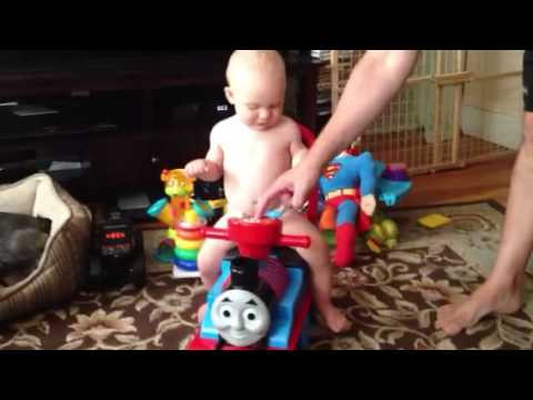 Dylan riding Thomas the train