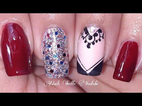 Diseños de uñas - Decoración de uñas elegante en tono rojo vino tinto/diseño de uñas noche/uñas con brillos