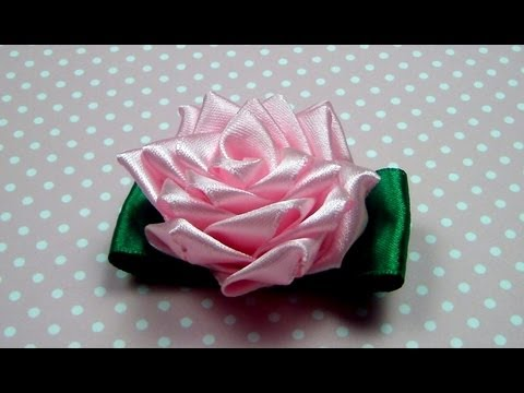 Чайная РОЗА КАНЗАШИ. Мастер-класс / Ribbon Rose, Kanzashi Flower Tutorial / ✿ NataliDoma
