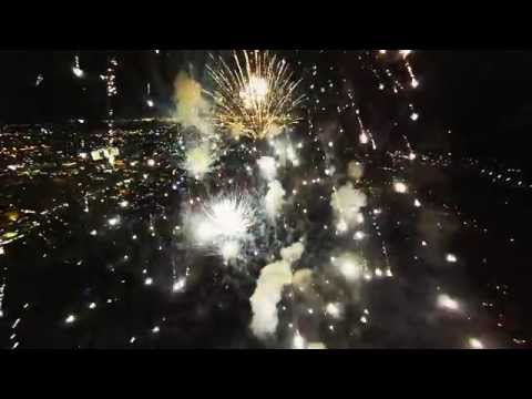 A Drone Flies Through Fireworks