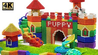 DIY - How To Build Castle Mud Dog House From Magnetic Balls ( Satisfying ) | Magnet World 4K