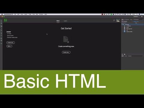 Basic HTML tutorial with Dreamweaver CC 2018