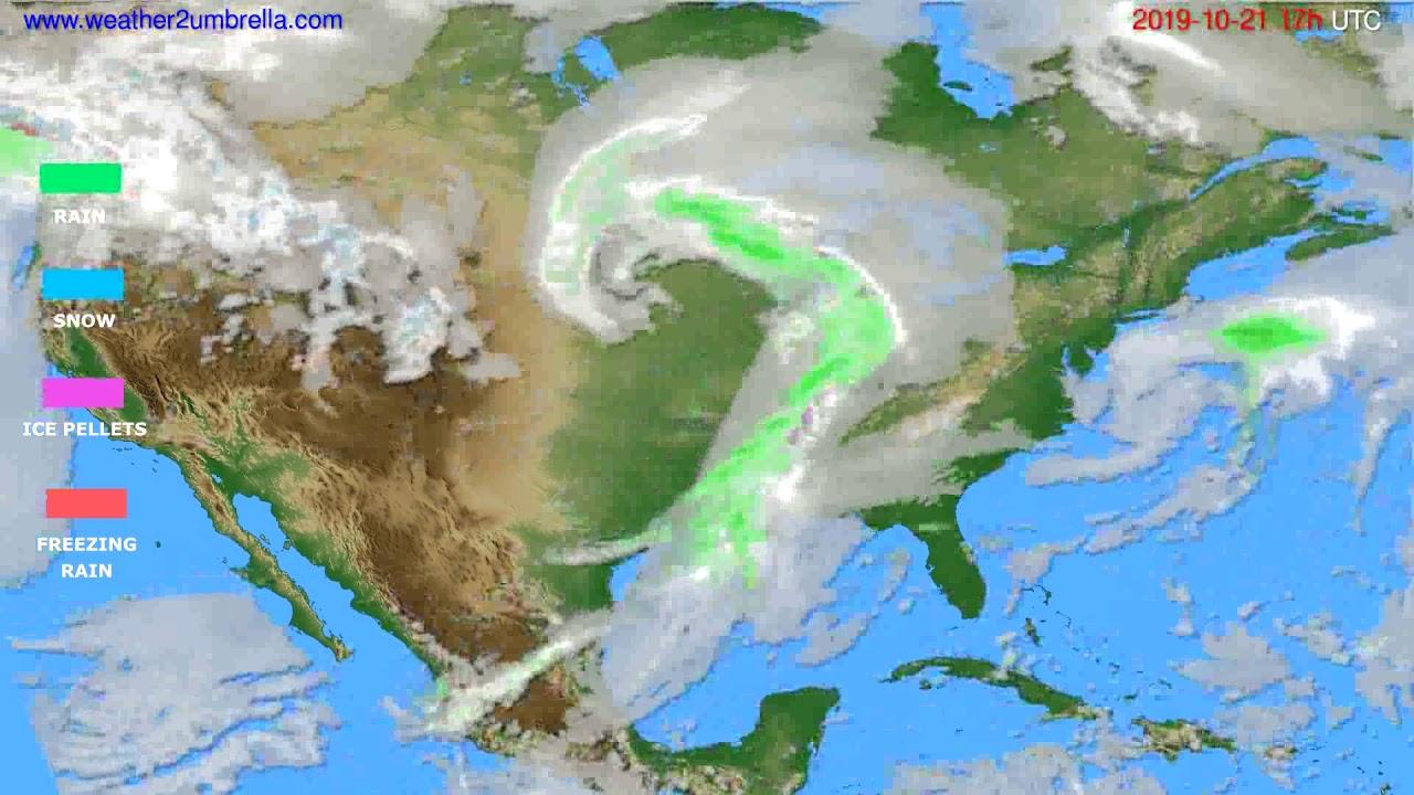 Precipitation forecast USA & Canada // modelrun: 12h UTC 2019-10-20