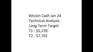 Bitcoin Cash Jan 24 Technical Analysis. Long Term Target T1 - $5,270, T2 - $7,701