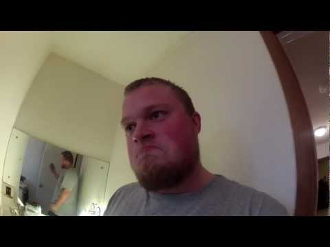 Bearded guy finds spider in bathroom, reacts logically