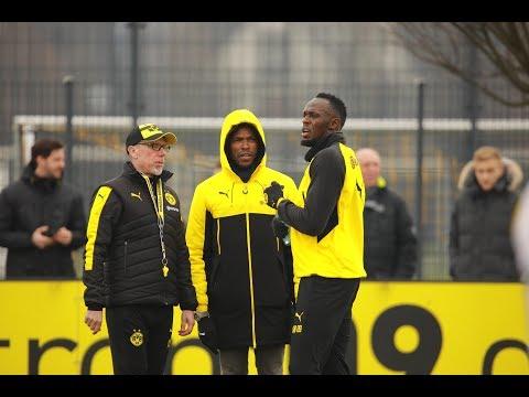 Usain Bolt beim BVB-Training (видео)