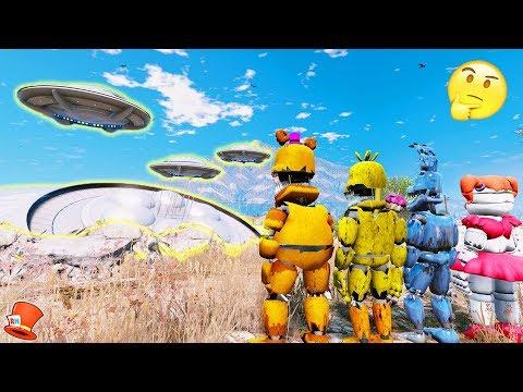 ANIMATRONICS DISCOVER UFOs & ALIENS! (GTA 5 Mods For Kids FNAF RedHatter)