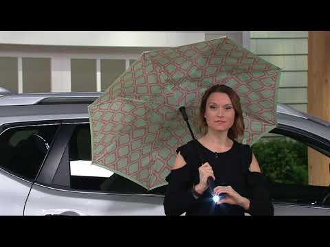 Revers-A-Brella Double Layer Inverted Automatic Open Umbrella w/ Lig on QVC
