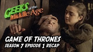We recap the opening episode of season 7 episode 1 of the HBO show Game oF Thrones. Arya takes revenge. Whitewalkers add giants. Lady Mormont won't sew. Cersei think she all that and 7 kingdoms. Euron Greyjoy wants to marry Cersei. Samuel cleans brown potty bowls and eats brown stuff. Little Finger wants to finger Sansa.... and a bunch of other stuff.