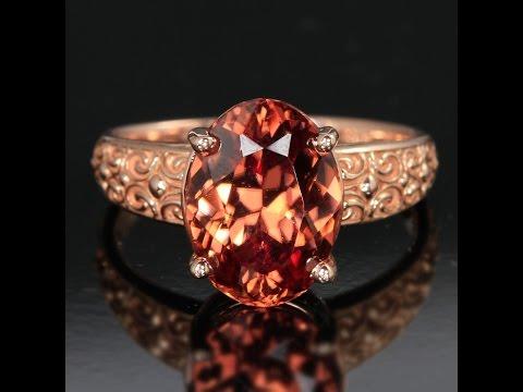 Rose Gold Zircon Ring w/ pattern