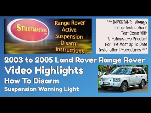 Active Suspension Light Disarm Instructions : 2003-2005 Range Rover
