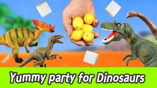 Video [EN] Yummy party for Dinosaurs! learn taste in english, kids education, collectaㅣCoCosToy MP3, 3GP, MP4, WEBM, AVI, FLV Januari 2019
