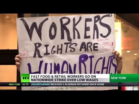 Fast Food Fight: Thousands of low-paid workers take to US streets