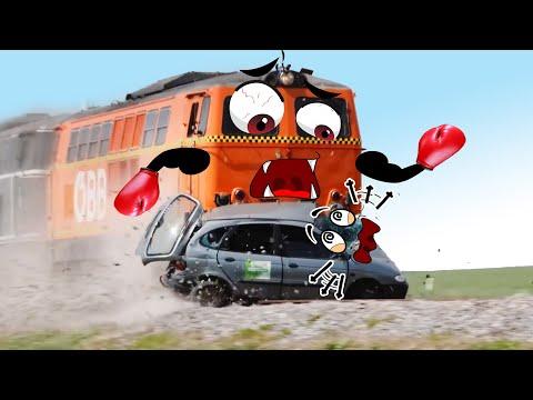 Train Crash   Monster Trains Crush Cars on Railroad - Woa Doodland