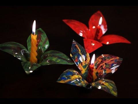 Virág alakú gyertyatartó készítése műanyag palackból