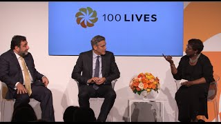 "George Clooney and Ruben Vardanyan at the panel on ""100 LIVES"" initiative"