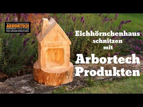 Eichhörnchenhaus Vogelhäuschen schnitzen mit Arbortech Werkzeug