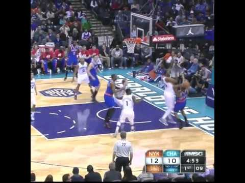 steps - Lance Thomas of the New York Knicks travels, double dribbles and steps out of bounds but no call from the refs.