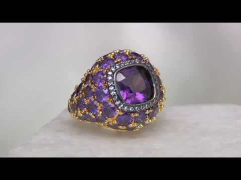 The Elizabeth Taylor 12 ct Simulated Amethyst Ring on QVC