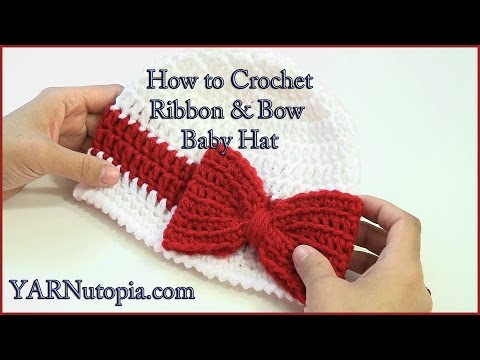 Download How to Crochet a Ribbon and Bow Baby Hat HD Mp4 3GP Video and MP3