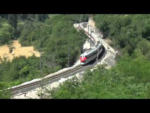 Pendolino ETR450 doppia curva ferrovia Ancona Roma