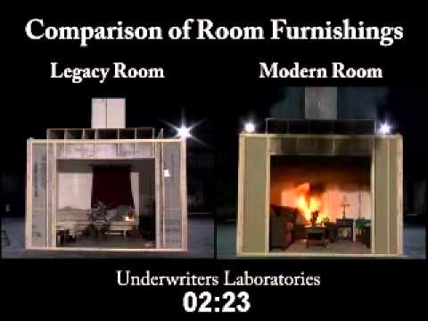 Underwriters Laboratories test of older legacy room and materials vs. modern furnishings and materials in a fire.
