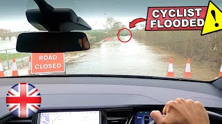 self driving behind a cyclist on a flooded road... this is crazy! | Tesla Autopilot FSD Model X UK by Pokemon Cards