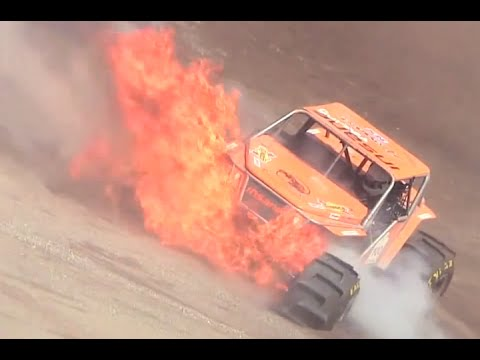 Burning transmission oil causes rig to erupt in fire during Formula Offroad in Sweden