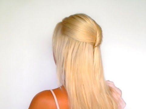Half up half down hairstyles for medium long hair tutorial Elegant homecoming wedding hairdo