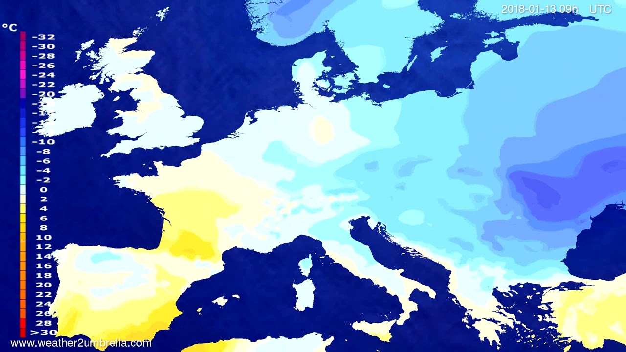 Temperature forecast Europe 2018-01-09