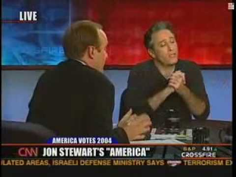 jon - This is the reason CNN's Crossfire is no longer on the air. Jon Stewart shows up these two ignorant political show hosts... 2 against 1, on their own show, a...