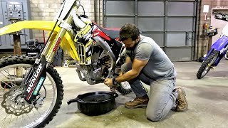 5. How to change oil on 4 stroke dirt bike, Suzuki RMZ 450 - Part 1