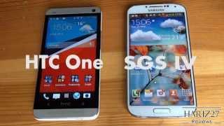 Ein Vergleich zwischen dem HTC One und Samsung Galaxy S4.