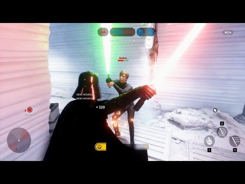 Star Wars Battlefront Beta Darth Vader VS Luke Skywalker! EPIC HERO FIGHT! (SWBF Funny Moments)