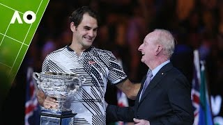 Tennis legend, Rod Laver, presents the Norman Brookes Challenge Cup to Roger Federer at the Australian Open 2017.